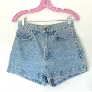 AMERICAN APPAREL High Waist Light Blue Jean Shorts